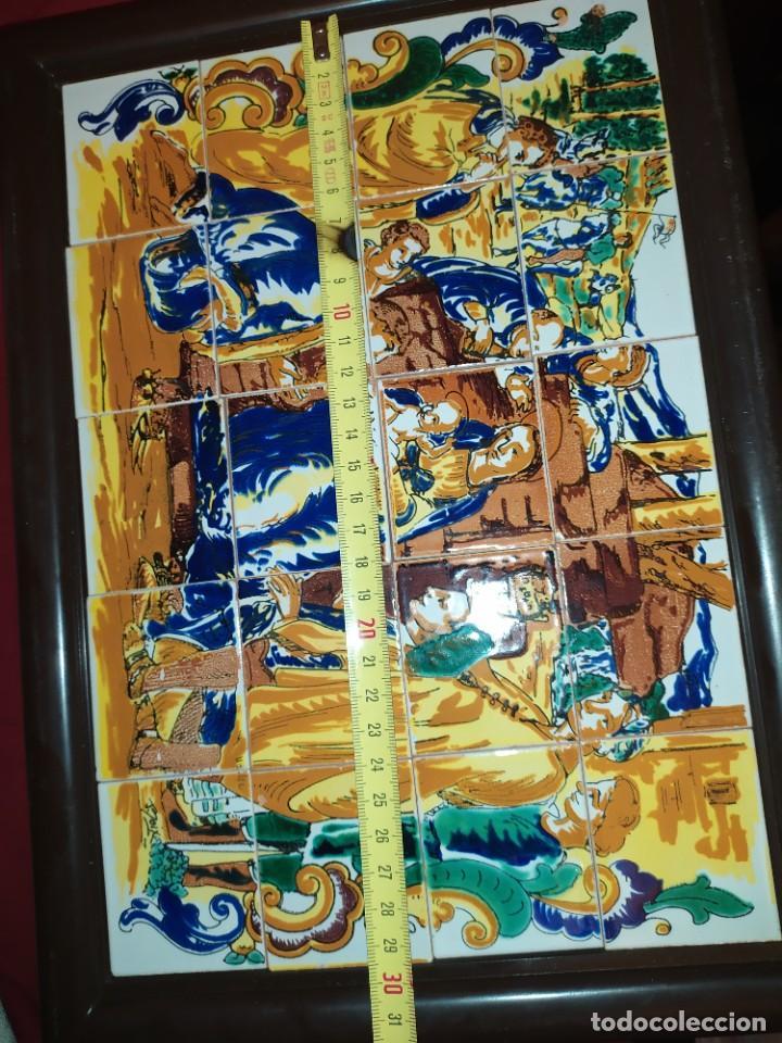 Arte: CUADRO COMPOSICIÓN PEQUEÑOS AZULEJOS VALENCIANOS FIRMADO J BOIX? ESCENA NACIMIENTO REYES MAGOS MARCO - Foto 12 - 246191245