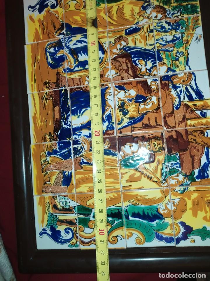 Arte: CUADRO COMPOSICIÓN PEQUEÑOS AZULEJOS VALENCIANOS FIRMADO J BOIX? ESCENA NACIMIENTO REYES MAGOS MARCO - Foto 14 - 246191245
