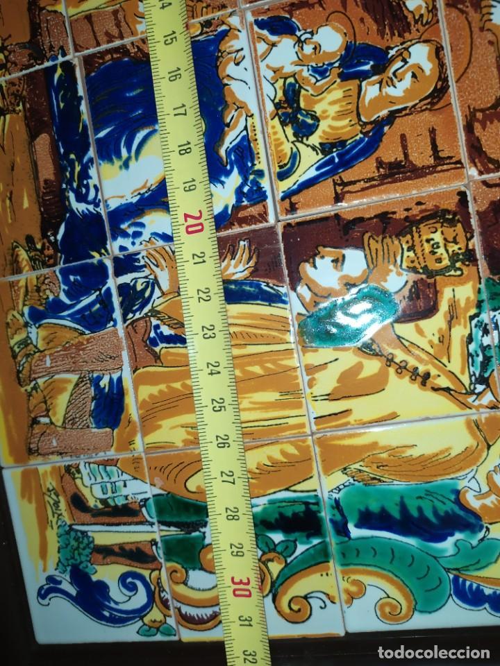 Arte: CUADRO COMPOSICIÓN PEQUEÑOS AZULEJOS VALENCIANOS FIRMADO J BOIX? ESCENA NACIMIENTO REYES MAGOS MARCO - Foto 16 - 246191245