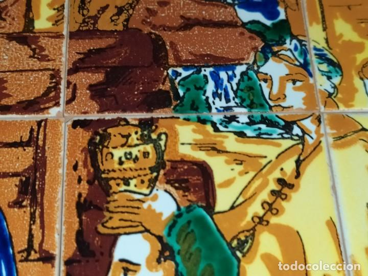 Arte: CUADRO COMPOSICIÓN PEQUEÑOS AZULEJOS VALENCIANOS FIRMADO J BOIX? ESCENA NACIMIENTO REYES MAGOS MARCO - Foto 17 - 246191245
