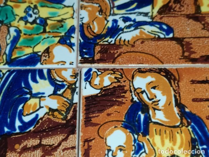 Arte: CUADRO COMPOSICIÓN PEQUEÑOS AZULEJOS VALENCIANOS FIRMADO J BOIX? ESCENA NACIMIENTO REYES MAGOS MARCO - Foto 19 - 246191245