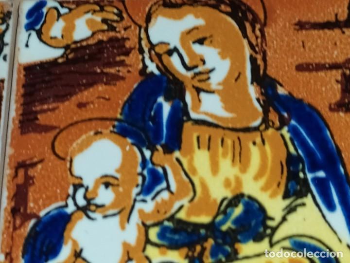 Arte: CUADRO COMPOSICIÓN PEQUEÑOS AZULEJOS VALENCIANOS FIRMADO J BOIX? ESCENA NACIMIENTO REYES MAGOS MARCO - Foto 20 - 246191245