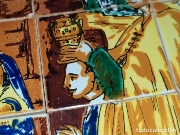 Arte: CUADRO COMPOSICIÓN PEQUEÑOS AZULEJOS VALENCIANOS FIRMADO J BOIX? ESCENA NACIMIENTO REYES MAGOS MARCO - Foto 22 - 246191245