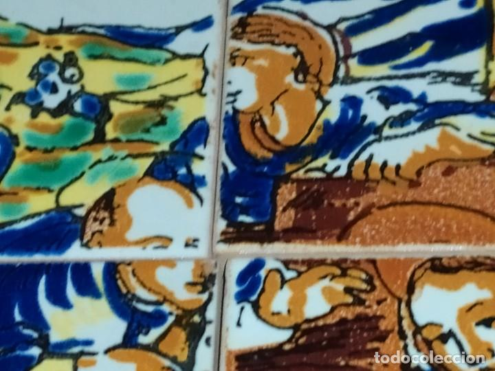 Arte: CUADRO COMPOSICIÓN PEQUEÑOS AZULEJOS VALENCIANOS FIRMADO J BOIX? ESCENA NACIMIENTO REYES MAGOS MARCO - Foto 23 - 246191245