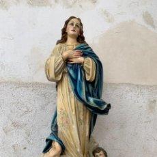 Arte: GRAN VIRGEN INMACULADA ANGELES ARTES RELIGIOSAS OLOT OJOS VIDRIO PPIO S XX 106 X 40 CMS. Lote 246274865