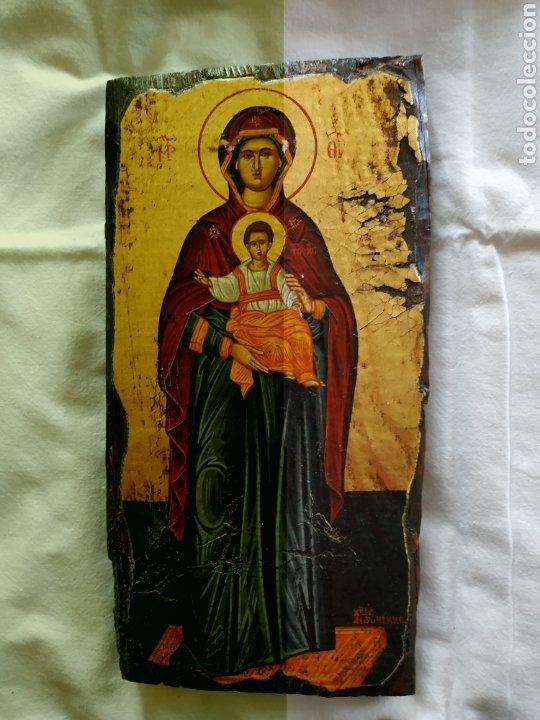 TABLA ICONO VIRGEN. (Arte - Arte Religioso - Pintura Religiosa - Otros)