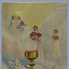 Arte: ALEGORIA DE LA COMUNION. SACRIFICIO DE LA SANTA MISA. OLEO S/ TABLA. FIRMADO. Lote 246346560
