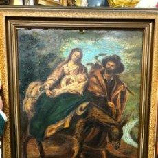 Arte: OLEO SOBRE TABLA ESCENA HUIDA A EGIPTO DE LA VIRGEN - RELIGIOSO - MEDIDA MARCO 54X44 CM. Lote 246457030