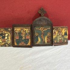 Arte: ANTIGUO TRIPTICO RELIGIOSO DE MADERA TALLADA PINTADO A MANO SIGLO XVIII.VER FOTOS. Lote 246613025