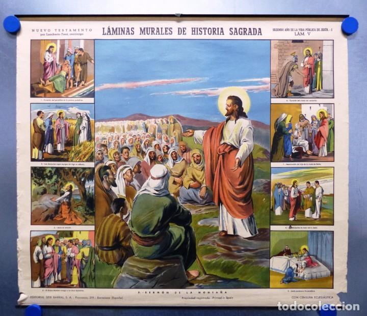 10 LAMINAS MURALES DE HISTORIA SAGRADA, ED. SEIX BARRAL, AÑOS 1950 - VER FOTOS ADICIONALES (Arte - Arte Religioso - Litografías)