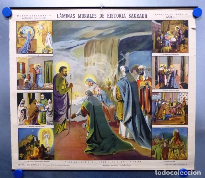 Arte: 10 LAMINAS MURALES DE HISTORIA SAGRADA, ED. SEIX BARRAL, AÑOS 1950 - VER FOTOS ADICIONALES - Foto 12 - 246644880