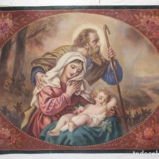 Arte: TAPIZ PINTADO SAGRADA FAMILIA CA 1900. 135X105CMS. Lote 246730420