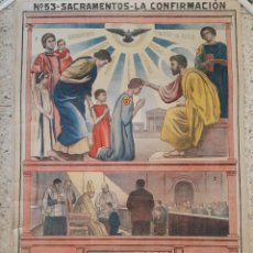 Arte: LÁMINA MURAL Nº 53 SACRAMENTOS : LA CONFIRMACIÓN / 1912 ? 103 X 68 CMS.. Lote 246800440