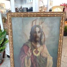Arte: CUADRO RELIGIOSO DE GRAN TAMAÑO, CON MARCO DE ÉPOCA. 83X111CM. Lote 246934205