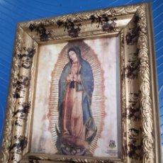 Arte: VIRGEN DE GUADALUPE CUADRO ORIGINAL DE MADERA CON DORADO EN NEGRO FIRMADO. Lote 246963220