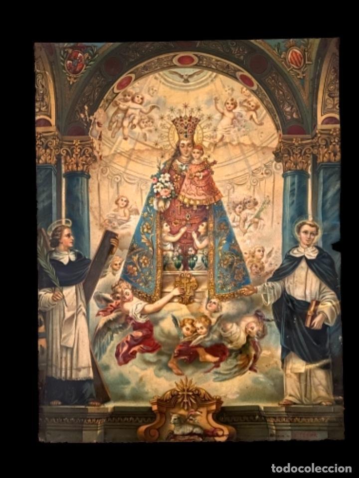 CROMOLITOGRAFÍA DE LA VIRGEN DE LOS DESAMPARADOS Y VICENTE FERRER.HECHA EN ALEMANIA. R. TESAR 42X32 (Arte - Arte Religioso - Pintura Religiosa - Otros)