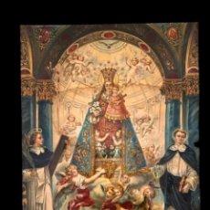Arte: CROMOLITOGRAFÍA DE LA VIRGEN DE LOS DESAMPARADOS Y VICENTE FERRER.HECHA EN ALEMANIA. R. TESAR 42X32. Lote 247042490