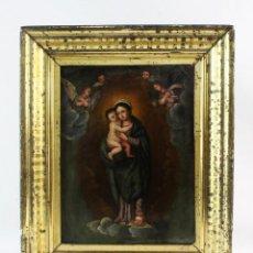 Arte: OLEO SOBRE COBRE. VIRGEN CON NIÑO. MARCO MADERA Y LATÓN. SPAIN CA 1780. MADONNA. OIL ON COPPER.. Lote 247091290