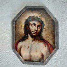 Arte: ECCE HOMO S.XVIII PINTADO BAJO CRISTAL BISELADO. Lote 247180450