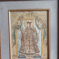 Arte: VIRGEN DIVINA PEREGRINA DE PONTEVEDRA. BORDADO EN SEDA Y PAPEL. GALICIA, FF. S. XVIII, PP.S. XIX.. Lote 247303795