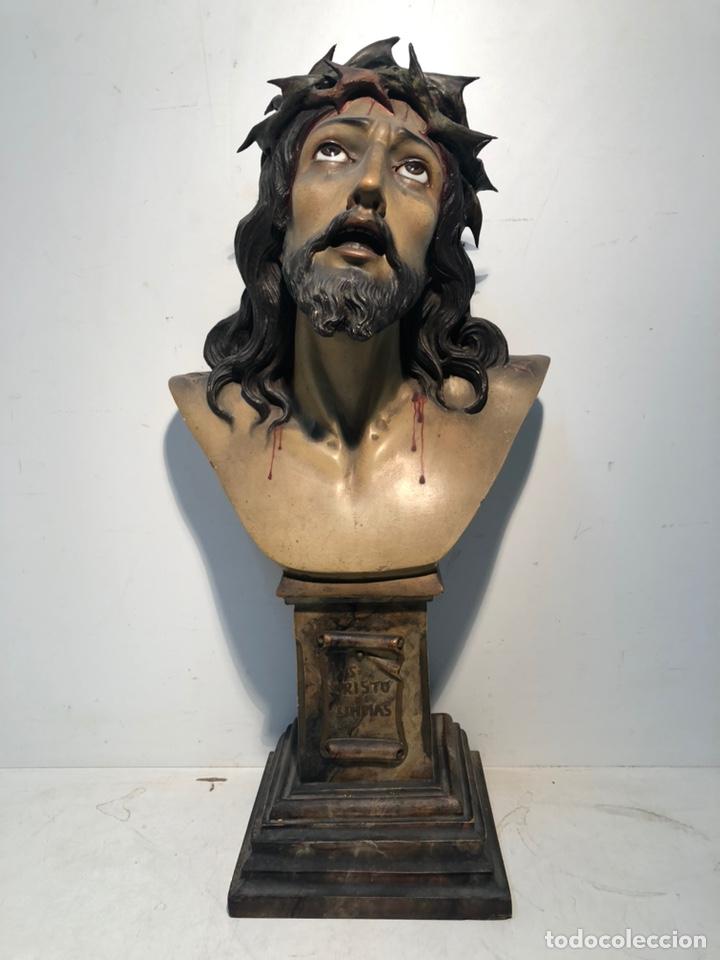 PRECIOSO CRISTO DE LIMPIAS DE ESTUCO ANTIGUO, SELLO OLOT. GRANDE 52CM. (Arte - Arte Religioso - Escultura)