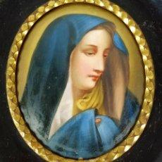 Arte: MINIATURA. RETRATO DE LA VIRGEN MARIA. PORCELANA ESMALTADA A MANO. FRANCIA. SIGLO XIX. Lote 247354350