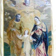 Arte: BONITA SAGRADA FAMILIA, BORDADO SOBRE SEDA, ENMARCADO, GRAN CALIDAD, SIGLO XIX VER FOTOS. Lote 247356965