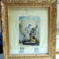 Arte: BORDADO SOBRE SEDA ENMARCADO SIGLO XIX, SAN LUIS DE GONZAGA, BONITO. Lote 247358550