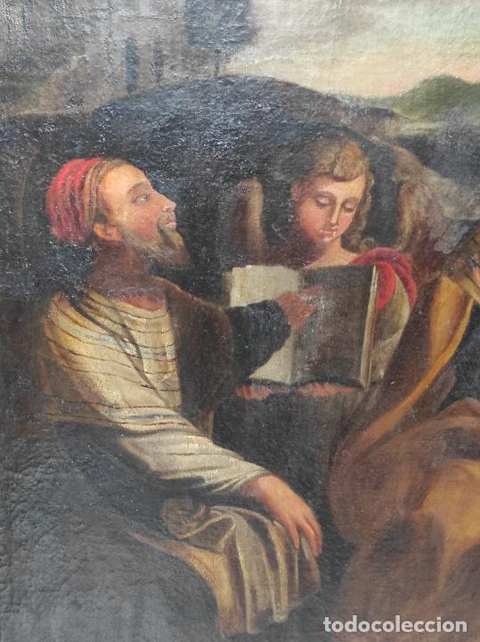Arte: Adoración de San Juanito, con Santa Isabel, San Mateo y Ángel - Escuela Española - S. XVII - Foto 3 - 247467275