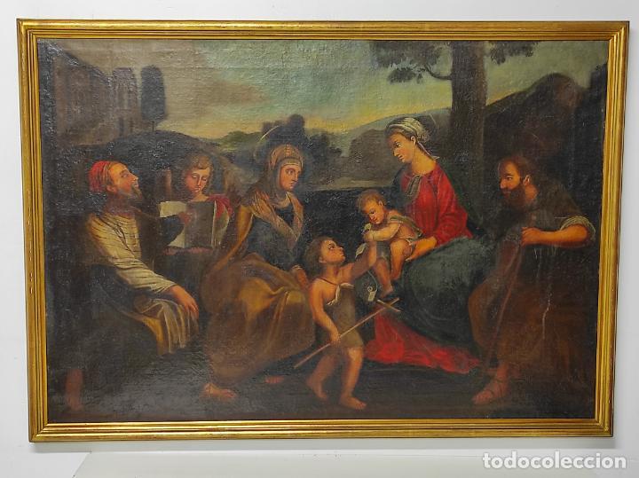 ADORACIÓN DE SAN JUANITO, CON SANTA ISABEL, SAN MATEO Y ÁNGEL - ESCUELA ESPAÑOLA - S. XVII (Arte - Arte Religioso - Pintura Religiosa - Oleo)