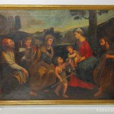 Arte: ADORACIÓN DE SAN JUANITO, CON SANTA ISABEL, SAN MATEO Y ÁNGEL - ESCUELA ESPAÑOLA - S. XVII. Lote 247467275