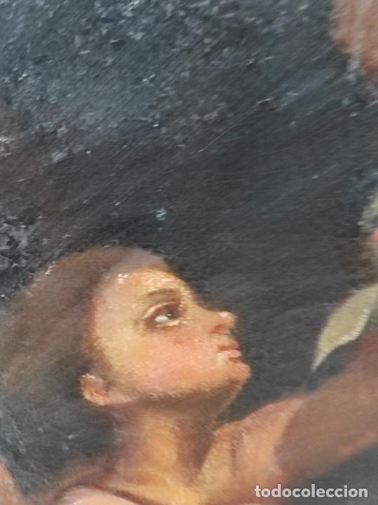 Arte: Adoración de San Juanito, con Santa Isabel, San Mateo y Ángel - Escuela Española - S. XVII - Foto 12 - 247467275