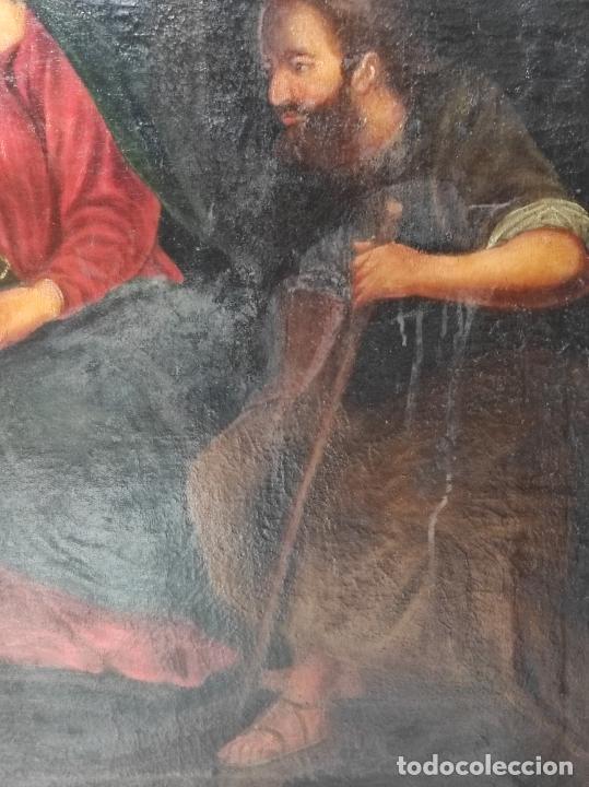 Arte: Adoración de San Juanito, con Santa Isabel, San Mateo y Ángel - Escuela Española - S. XVII - Foto 16 - 247467275