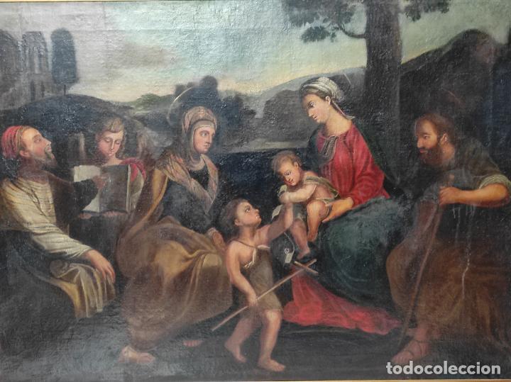 Arte: Adoración de San Juanito, con Santa Isabel, San Mateo y Ángel - Escuela Española - S. XVII - Foto 17 - 247467275