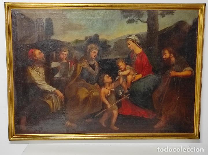 Arte: Adoración de San Juanito, con Santa Isabel, San Mateo y Ángel - Escuela Española - S. XVII - Foto 18 - 247467275