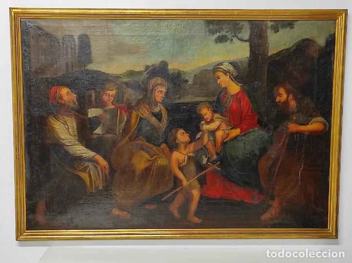 Arte: Adoración de San Juanito, con Santa Isabel, San Mateo y Ángel - Escuela Española - S. XVII - Foto 24 - 247467275