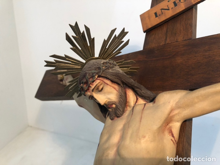 Arte: ANTIGUA CRUZ DE ALTAR, CRISTO DE ESTUCO. 80CM. - Foto 4 - 247470450