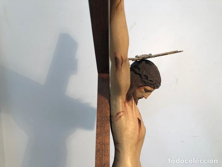 Arte: ANTIGUA CRUZ DE ALTAR, CRISTO DE ESTUCO. 80CM. - Foto 7 - 247470450