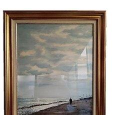 Arte: PINTOR JULIAN LEON - MARINA EN ACUARELA 65X50CM. Lote 247543475