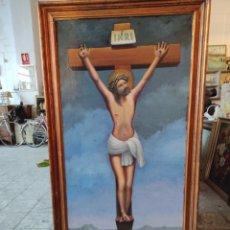 Arte: OLEO SOBRE LIENZO. ESCENA DE LA CRUCIFICCIÓN DE JESUCRISTO. GRANDES DIMENSIONES. CON MARCO. 143X73. Lote 247754535
