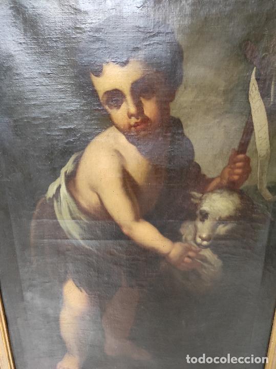Arte: Óleo sobre Tela - San Juanito el Buen Pastor - Circulo Murillo - Escuela Sevillana - S.XVIII - Foto 11 - 247994155