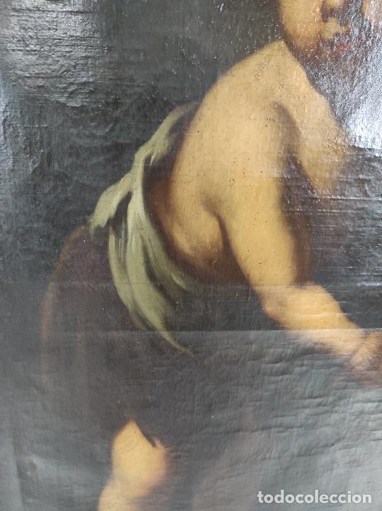 Arte: Óleo sobre Tela - San Juanito el Buen Pastor - Circulo Murillo - Escuela Sevillana - S.XVIII - Foto 12 - 247994155