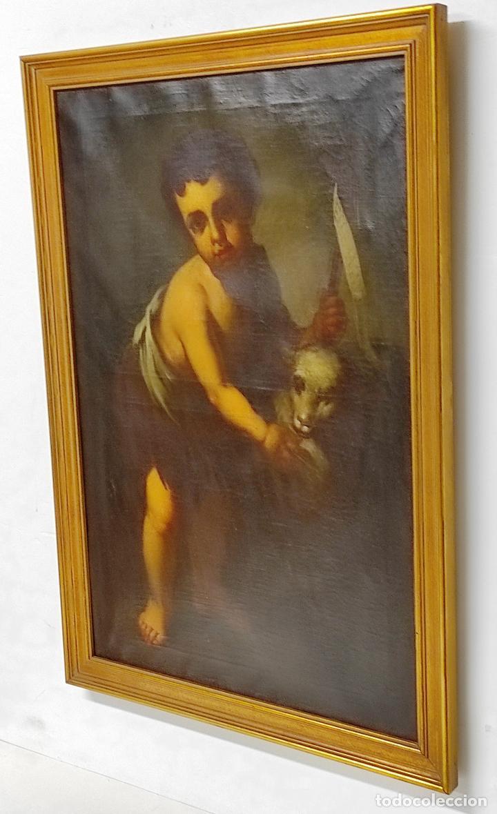 Arte: Óleo sobre Tela - San Juanito el Buen Pastor - Circulo Murillo - Escuela Sevillana - S.XVIII - Foto 20 - 247994155