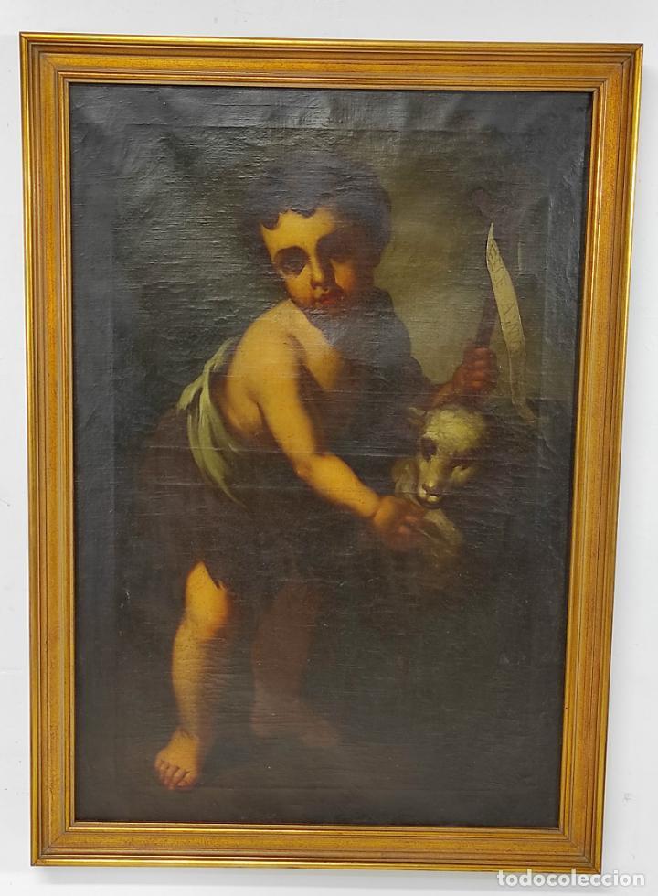Arte: Óleo sobre Tela - San Juanito el Buen Pastor - Circulo Murillo - Escuela Sevillana - S.XVIII - Foto 21 - 247994155