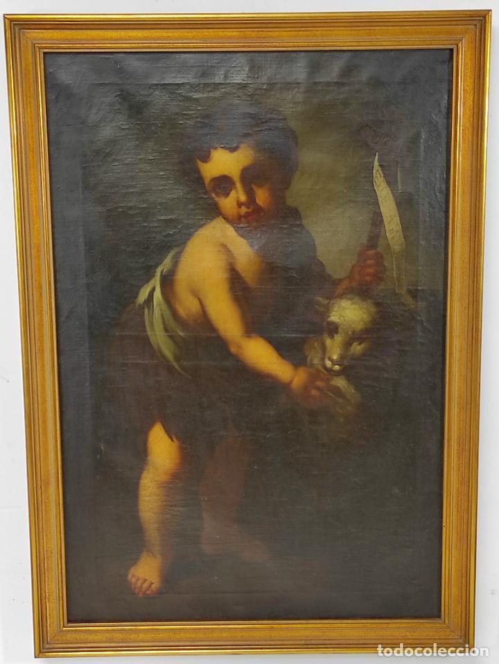 ÓLEO SOBRE TELA - SAN JUANITO EL BUEN PASTOR - CIRCULO MURILLO - ESCUELA SEVILLANA - S.XVIII (Arte - Arte Religioso - Pintura Religiosa - Oleo)
