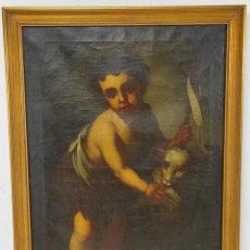 Arte: ÓLEO SOBRE TELA - SAN JUANITO EL BUEN PASTOR - CIRCULO MURILLO - ESCUELA SEVILLANA - S.XVIII. Lote 247994155