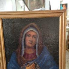 Arte: OLEO SOBRE LIENZO RELIGIOSO. VIRGEN EN ORACIÓN, ENMARCADO 74X86CM. Lote 248028285