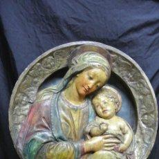 Arte: ANTIGUO Y GRAN PLAFON DE ESTUCO Y MADERA. VIRGEN MARÍA Y EL NIÑO JESÚS. Lote 248350875