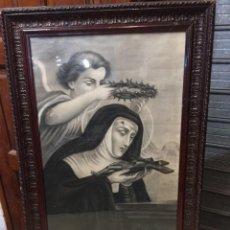 Arte: SANTA RITA DE CASIA. DIBUJO AL CARBONCILLO FIRMADO Y FECHADO: ISABEL PÁEZ. MAYO 1921. Lote 248435955