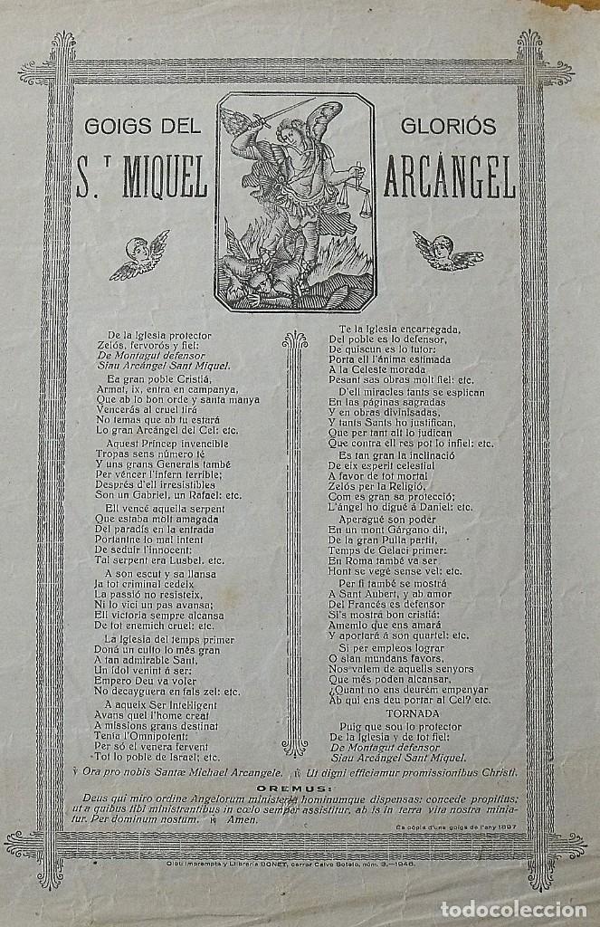 GOIGS. GOZOS. SANT MIQUEL. SAN MIGUEL. ARCÀNGEL. 32X22 CM. IMPRENTA BONET. 1946. (Arte - Arte Religioso - Grabados)
